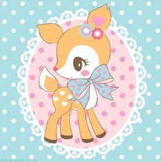 Hummingmint deer fawn retro flower hearts pastel grosgrain ribbon