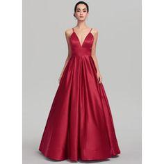Ball-Gown v-neck floor-length satin prom dresses Affordable Prom Dresses, Cheap Evening Dresses, Prom Dresses Online, Gowns Online, Grad Dresses Short, Prom Dresses With Sleeves, Wedding Dresses, Party Dresses, Vestidos Fashion