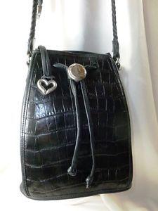 Vintage Brighton Purse Embossed Black Leather Braided Strap Adj Buckle Bucket Sz