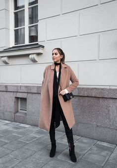 """fashion-clue: """" justthedesign: """" Worn with a classic camel coat and black jeans, this skinny scarf adds a whole new level of elegance to Kenza Zouiten's look. We recommend you wear a scarf like this with a block coloured outfit to create a striking. Colourful Outfits, Simple Outfits, Winter Outfits, Kenza Zouiten, New Street Style, Skinny Scarves, Fashion Blogger Style, How To Wear Scarves, Camel Coat"""