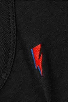 rag & bone - Embroidered Pima Cotton T-shirt - Black