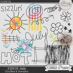 #2016 July - Doodles & Stamps by Connie Prince. Includes 20 doodle & stamp elements. Saved in PNG format. Scrap for hire / others ok.