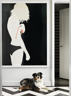Custom-painted floor that defines the entry. Painting by Natasha Law, represented by Voltz Clarke.