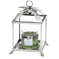 """dd the elegance of nature to your 3-Wick Jar Candles with this chic, clear glass paneled holder in a palm leaf motif. With metal detailing plus a removable lid. 11¼""""h 29 cm h, 7¾""""w 20 cm w Partylite.biz/candleladydana"""