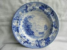 Antique+Wedgwood+Blue+Transfer+Soup+plate