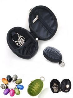 [Visit to Buy] Multifunctional Grenade Shaped Style  Car Key Wallets PU Leather Hand Zipper Coin Purse Pouch Bag Keychain Holder Case Hot #Advertisement