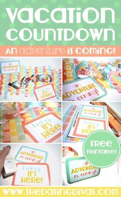 DIY Vacation Countdown Chain with Free Printables. Cute idea to get the whole family excited for a vacation! Countdown For Kids, Day Countdown, Countdown Calendar, Kids Calendar, Calendar Printable, Vacation Countdown, Disney Countdown, Disney Vacations