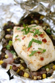 Halibut with Chipotle-Compound Butter in foil packets