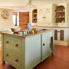 Worktop bin | Soft green and cream traditional kitchen | housetohome.co.uk