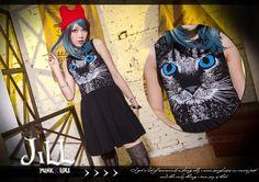 Street Punk American Chic Midnight Witch Siamese Cat Sleeveless Tunic Dress $1 | eBay