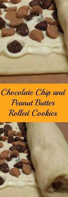 Chip and Peanut Butter Rolled Cookies So easy when made with crescent rolls, cream cheese, peanut butter and chocolate chips. Just roll and bake.So easy when made with crescent rolls, cream cheese, peanut butter and chocolate chips. Just roll and bake. Crinkle Cookies, Roll Cookies, Cookies Et Biscuits, Yummy Cookies, Cookie Bars, Cookie Desserts, Easy Desserts, Cookie Recipes, Delicious Desserts