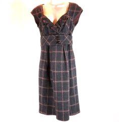 Nanette Lepore 8 Charcoal Grey Brown Wool Plaid Dress Womens Sleeveless V Neck