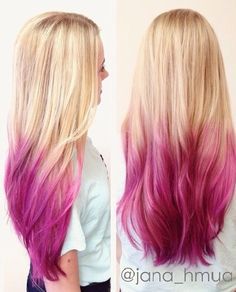 blonde to pink ombre Pink Hair Tips, Hot Pink Hair, Hair Color Pink, Pastel Hair, Cool Hair Color, Purple Hair, Blonde To Pink Ombre, Blond Rose, Blonde With Pink