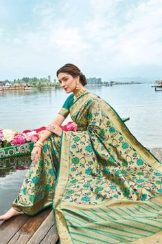 Look Stunning and Gorgeous In this Lovely Designer New Arrival LT Gulbarg Paithani Soft Silk Fancy Saree. Buy this Beautiful colored soft Paithani silk saree Fancy Sarees, Silk Sarees, Net Saree, Traditional Sarees, Traditional Wedding, Crystal Embroidery, Plain Saree, Elegant Saree, Saree Look