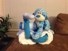 Diaper Motorcycle for baby shower.