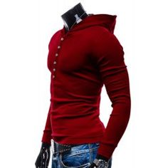 Hooded Simple Buttons Pullover Hoodie - Red - 2xl - RED 2XL