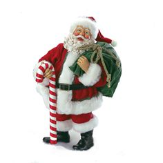 Swirly Cane Santa with Candy Cane Walking Stick