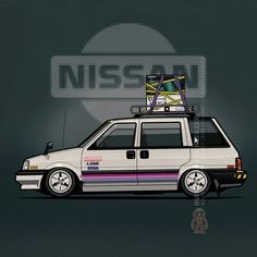 Slammed Nissan Prairie 4wd Wagon on Advan racing dish wheels – #RetroGaming #Amiga #Nintendo #Sega #Sharp #16bit #Nissan ©2016 Tom Mayer, Monkey Crisis On Mars – All Rights Reserved