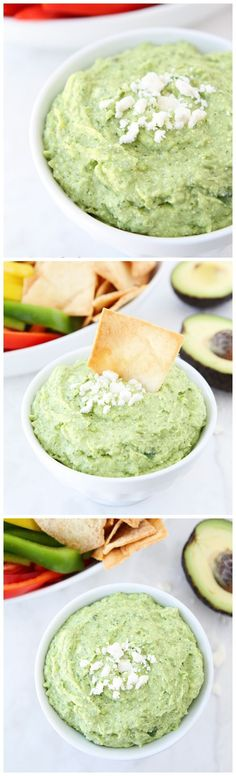 Avocado Feta Dip Recipe on twopeasandtheirpod.com Perfect for your Super Bowl party!