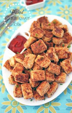 Baked Parmesan Garlic Cauliflower Tots - kids will love them!