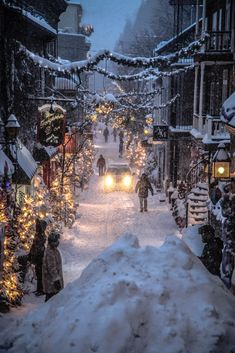 Old Quebec after a storm. Christmas Scenes, Winter Christmas, White Christmas Snow, Christmas Tree, Places To Travel, Places To Visit, Le Petit Champlain, Christmas Wonderland, Winter Wonderland