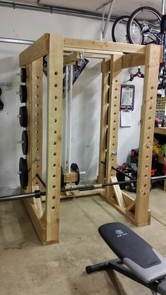 Weights On The Back Of The Homemade Power Rack