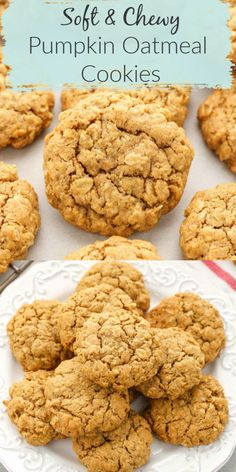 These pumpkin oatmeal cookies are super soft, chewy, thick, and full of pumpkin flavor! The perfect easy cookie for fall! Pumpkin Oatmeal Cookies, Pumpkin Cookie Recipe, Pumpkin Dessert, Pumpkin Spice, Oatmeal Dessert, Pumpkin Carving, Oatmeal Cookie Recipes, Easy Cookie Recipes, Recipes With Pumpkin