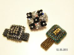 Rings I made using size 15-11 seed beads and crystals!