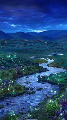 Fantasy Art Landscapes, Fantasy Landscape, Fantasy Artwork, Beautiful Landscapes, Anime Scenery Wallpaper, Landscape Wallpaper, Aesthetic Backgrounds, Aesthetic Wallpapers, Aesthetic Art