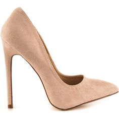 Liliana Women's Pimento - Nude ($50) ❤ liked on Polyvore featuring shoes, pumps, beige, nude high heel pumps, beige pointy toe pumps, pointy toe pumps, beige shoes and beige suede pumps