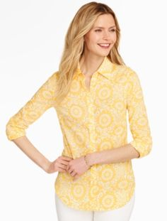 I love yellow, and this structure button down would be great for work or a playdate.  I like the pattern--fairly subtle with white on yellow.