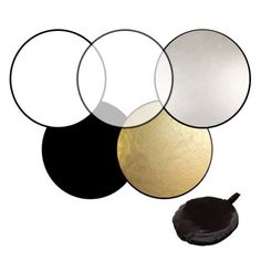 Features:This professional 5-in-1 (silver,gold,black,white and transparent) portable reflector kit eliminates the need for multiple reflectors, silks and solids.This reflector is a lightweight, circular, steel-framed reflector system which folds conveniently into a disc approximately one-third its in-use size for easy transport and storage.Unlike conventional reflectors, however, it features a removable, reversible cover which allows for two uniquely functional surfaces.Specifications:Shape…
