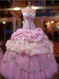 pink wedding dress >>>> I would SO wear this wedding gown! The Dress, Pink Dress, Barbie Dress, Barbie Cake, Pink Gowns, Cinderella Gowns, Real Cinderella, Cinderella Princess, Cinderella Wedding