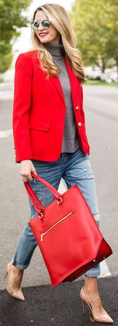 Red Blazer And Tote On Classics Fall Inspo by Ivory Lane