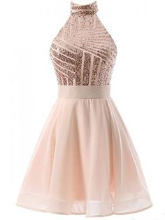 Sexy Halter Short Rose Gold Sparkly Homecoming Dress Cocktail Dress ... fb1cb3eb7