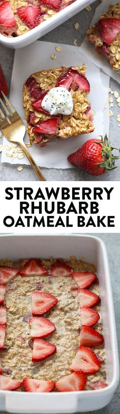 Make breakfast a breeze with this Strawberry Rhubarb Oatmeal Bake. It is packed with fiber, protein, and will satisfy your sweet tooth while keeping you full until lunchtime!