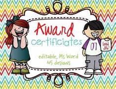 Candy Award Certificates  Editable Ms Word And Pdf  Things For