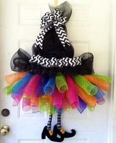 Witch Tutu, Legs & Hat Deco. Mesh Wreath Door Hanger Decoration