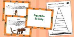 KS2 Ancient Egypt- Egyptian Social Triangle Powerpoint and Worksheets