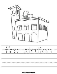 1000 images about fire station on pinterest fire safety for Fire station coloring page