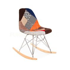 Mid Century Modern Eiffel Rocking Retro Side Chair Eames Style - Special Patchwork