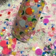 "Amazon.com: Custom & Fancy Approx 0.5 Teaspoon of Small ""Nail Art"" Confetti Made of Premium Mylar w/ Glow in the Dark Iridescent Shimmer Rainbow Glitter Dust Design [White, Pink, Purple, Red, Yellow & Blue]: Toys & Games"
