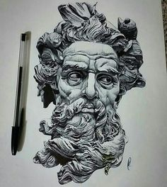 Repost from - Poseidon pen drawing by artist . Zeus Tattoo, Poseidon Tattoo, Statue Tattoo, Tattoo Sketches, Tattoo Drawings, Art Drawings, Vexx Art, Ink Art, Poseidon Drawing
