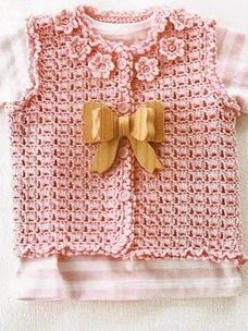 Cute Baby Girl Vest free crochet pattern