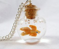 Tiny Goldfish In A Bowl - Necklace or Keychain - Lampwork Glass and Polymer Clay Bottle Jewelry, Bottle Charms, Bottle Necklace, Clay Charms, Bottle Art, Glass Bottle, Fimo Clay, Polymer Clay Jewelry, Resin Crafts