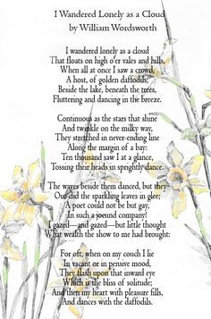 i wandered lonely as a cloud poem - Google Search