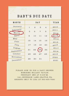 Baby Shower Invitation with challenge to guess the due date, could also have guess if boy or girl and possible name ?