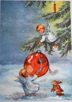 Vintage Christmas Card - German Glitter Angels Decorating Tree - Used - Christmas Angels decorations crafts Christmas Card Images, Vintage Christmas Images, Christmas Scenes, Christmas Past, Retro Christmas, Vintage Holiday, Christmas Pictures, Christmas Angels, Christmas Greetings
