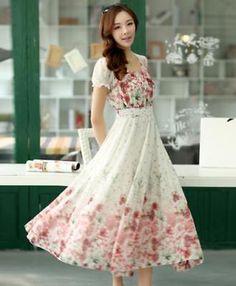 1c6973087ec6 Womens Chiffon Puff Sleeve Floral Print Boho Long Swing Party Dress Size  S-XXL #