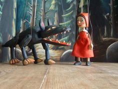 Little Red Riding Hood and wolf ,  marionette puppet